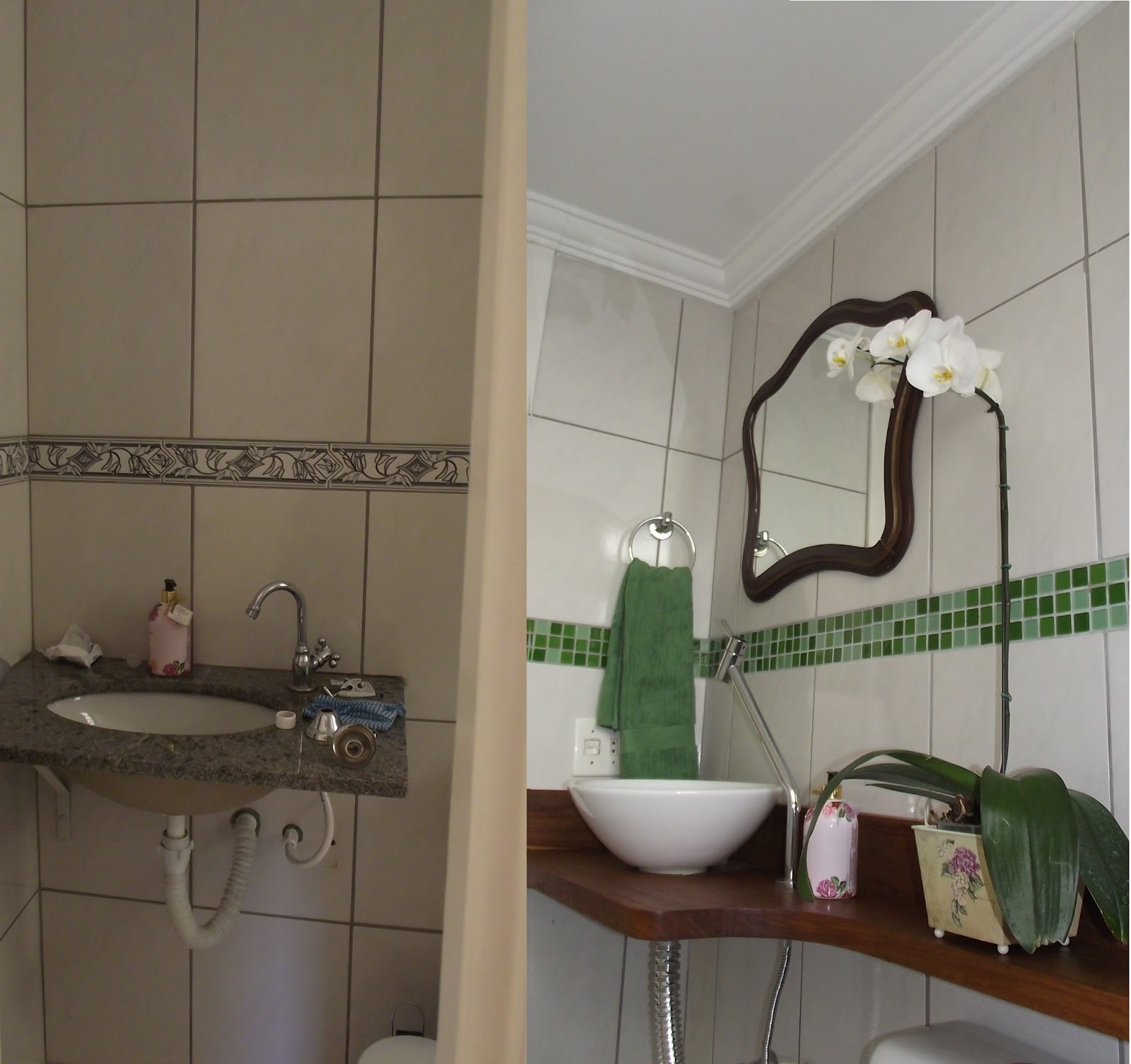 Veja o antes e depois -> Banheiro Decorado Com Pastilhas Verdes